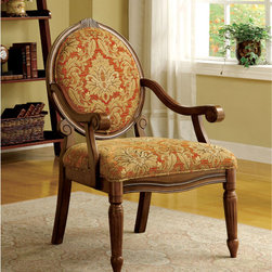 Furniture of America - Furniture of America Letitia Victorian Style Antique Oak Accent Chair - Charmingly elegant with the Victorian-inspired print,the Letitia Accent Chair offers plenty of comforting cushioning and old-fashioned style. This piece offers a sophisticated air to any setting.