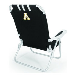 "Picnic Time - Appalachian State Monaco Chair Black - The Monaco Beach Chair is the lightweight, portable chair that provides comfortable seating on the go. It features a 34"" reclining seat back with a 19.5"" seat, and sits 11"" off the ground. Made of durable polyester on an aluminum frame, the Monaco Beach Chair features six chair back positions and an integrated cup holder in the armrest. Convenient backpack straps free your hands so you can carry other items to your destination. Rest and relaxation come easy in the Monaco Beach Chair!; College Name: Appalachian State; Mascot: Mountaineers; Decoration: Digital Print"