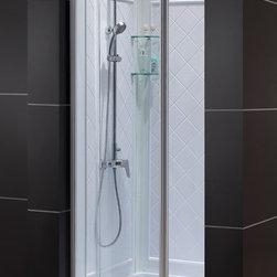 "DreamLine - DreamLine DL-6132C-01CL Flex Shower Door, Base & Backwalls - DreamLine Flex Frameless Pivot Shower Door, 36"" by 36"" Single Threshold Shower Base and QWALL-5 Shower Backwall Kit"