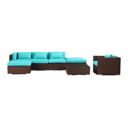 "Kardiel - Modify-It Outdoor Garden Furniture Patio Sofa Sectional Lanai 7pc Set Turquoise - Host 6 in comfortable style with the modern Lanai 7-piece set. This set centers around an open-ended ultra stylish chaise sectional.  The backdrop for elegant entertaining is completed with the introduction of a single stand-alone armchair and coordinating tempered glass top coffee table. The flexible nature of Modify-It modular allows for customized reconfiguring of the layout at will. The design origins are Clean European. The elements of comfort are inspired by the relaxed style of the Hawaiian Islands. The Aloha series comes in many configurations, but all feature a minimalist frame and thick, ample modern cube cushions. The back cushions are consistent in shape, not tapered in to create the lean back angle. Rather the frame itself is specifically ""lean tapered"" allowing for a full cushion, thus a more comfortable lounging experience. The cushion stitch style utilizes smooth and clean hand tailoring, without extruding edge piping. The generously proportioned frame is hand-woven of colorfast, PE Resin wicker. The fabric is Season-Smart 100% Outdoor Polyester and resists mildew, fading and staining. The ability to modify configurations may tempt you to move the pieces around... a lot. No worries, Modify-It is manufactured with a strong but lightweight, rust proof Aluminum frame for easy handling."
