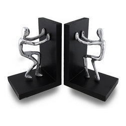 Zeckos - Funny Hold Em Up Cast Aluminum Abstract Figural Bookends - Emphasize your home, office or love for art with this set of awesome bookends With help from these two clever and funny figures, your shelves are sure to stay tidy Each wooden bookend features a cast aluminum abstract figure pushing on the back wall of the bookend. Each bookend measures 7 inches (18 cm) high, 5 inches (13 cm) long and is 4 inches (10 cm) wide, and have foam pieces on the bottom to help prevent scratching surfaces. Blending art with practicality, these bookends would look great on any shelf, table or counter in your home or office, and make a wonderful gift