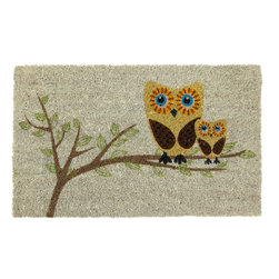 Entryways - Give a Hoot Non-Slip Coconut Fiber Doormat - This beautifully designed doormat will enhance your entry way or patio. It's made from the highest quality all natural coconut fiber with a PVC non slip backing.