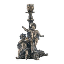 US - 8.5 Inch Bronzehued Candle Holder with Cherubs Playing Music - This gorgeous 8.5 Inch Bronzehued Candle Holder with Cherubs Playing Music  has the finest details and highest quality you will find anywhere! 8.5 Inch Bronzehued Candle Holder with Cherubs Playing Music  is truly remarkable.