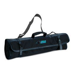 """Picnic Time - Carolina Panthers 3-pc BBQ Tote in Black - The Metro BBQ Tote stands out among other portable barbecue tool sets. It's a 3-piece BBQ tool set with silicone handles in an attractive black polyester zip-up case with an adjustable shoulder strap to match the handles of the tools inside. It includes three stainless steel tools: 1 large spatula featuring a built-in bottle opener, grill scraper, and serrated edge for cutting (17.5"""") , 1 BBQ fork (17""""), and 1 pair of tongs (16.5""""). All three tools have long handles to keep your hands away from the flames and metal loops at their ends to hang them on your barbecue. Why not add a little color to your day with the Metro BBQ Tote?; Decoration: Digital Print; Includes: 1 (25"""") spatula with built-in bottle opener, 1 (18.75"""") pair of tongs, and 1 (19"""") fork"""