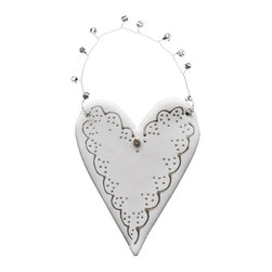 Clay Heart with Pewter Scallop Edge - Clay heart with pearls beautifully hand crafted in Egypt.