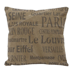 Benzara - Decorative Valentine Fabric Pillow in Brown Color Base - Your room will get the complete look for with this French Valentine pillow. It is just perfect for your Valentine decor! The print is of Eiffel tower with in. Paris in. , Versailles, Quartier Latin and Montparnasse. Intricately designed to match any contemporary decor, this elegant pillow will offer a new and rich appeal to your living space and earn you accolades for your modern taste in home furnishing. It is made of a beautiful brown colored base and is crafted with premium cotton. Sleek and stylish, this fabric pillow is a must-have in your home as it will add a trendy style. Quality assured, the fabric pillow is sure to delight you in infusing your home with the rich aura of goodness all around!.