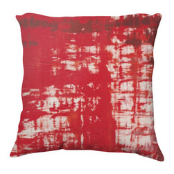 """Kathleen Mooney Artist - Grenadine Artist Designed Abstract Pillow Cover by Kathleen Mooney - Grenadine is an artist designed abstract pillow cover by Kathleen Mooney, an award winning contemporary international artist - in a combination of super soft velveteen which is printed on both sides with the same design.  Cover measures 22"""" by 22"""", 100% polyester - Dry Clean or spot clean only.  You are buying the pillow cover only which saves you on shipping costs.  All cushion covers and pillow covers are made in Canada, sweatshop free.  This pillow cover features a vibrant fade resistant print with a zipper closure for easy care."""