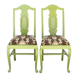 Used Lime Green Vintage Dining Chairs - A Pair - Sweet as key lime pie. This adorable pair of vintage dining chairs have been painted in a glossy lime green and reupholstered in designer Ikat fabric in hues of brown, cream, burgundy and lime green. These will be cute at a dining table, flanking a console table, or as office chairs - anywhere you want a pop of color and pattern.