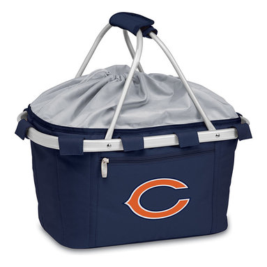 Picnic Time - Chicago Bears Metro Collapsible Basket - On-the-go fans cheer for this team-themed traveling basket. Complete with a water-resistant interior, expandable drawstring top and aluminum frame from which the canvas expands, this all-in-one carrier is perfect for hauling game-day gear or supplying snacks for an afternoon outdoors.   19'' W x 10'' H x 11'' D Polyester canvas / aluminum Wipe clean Imported