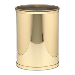 Kraftware - Mylar Wastebasket in Polished Brass - 0.75 in. band in polished brass with gold bumper. Made in USA. 10 in. Dia. x 12 in. H (1.5 lbs.)Kraftware's Mylars bring the look of metal at vinyl prices. Great value, great looks and great entertaining sum up the Mylar collection.