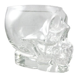 Zeckos - Human Skull Shaped Half Liter / Pint Glass Beer - Get the party started right with this molded glass human skull shaped pint glass. The glass made of thick glass with a heavy base, and it hold a half-liter, or a little over a pint, of your favorite beverage. Each glass measures 4 1/2 inches tall, 5 3/8 inches deep and 4 1/2 inches wide. It makes a great gift for any skull lover.