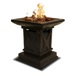 Paramount - Troy Resin Propane Heater - Made from quality magnesium composite with a commercial grade burner, our pedestal propane heater will take the nip out of the air on chilly nights. This table top propane heater produces up to 12,000 BTUs of heat. Beautifully designed, the Troy Resin Pedestal Heater will add a touch of sophistication to your favorite outdoor space.