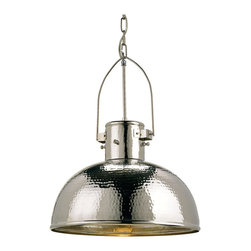 Kathy Kuo Home - Gurnsey Industrial Hammered Nickel Dome 1 Light Pendant - The hammered nickel finish of the Gurnsey pendant gives its dome shape a transitional feel. The hand finishing process used on this chandelier lends an air of depth and richness not achieved by less time-consuming methods.