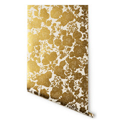 Garden Wallpaper, White & Gold