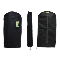 Z Racks - Green Garmento Garment Bag in Black Night - A Duffel Bag and A Dry Cleaning Bag!. Use as a hanging hamper. Breathable & water resistant. Full Length Zipper. An eco-friendly, stylish, & practical alternative to single-use plastic dry-cleaning bags.  5.25 in. Side Gussets. 48 in. L x 25 in. WThe Green Garmento long bag is an attractive, affordable, and reusable 4-in-1 garment bag that is perfect for long dresses, most coats, suits, slacks, sweaters and tops. It also makes a great duffel bag!  All of our Green Garmentos have 5.25 in. side gussets to gently hold multiple items as well as a full length side zipper for easy access to all of your hanging clothes.  By switching to The Green Garmento, YOU will help to drastically reduce the negative impact of single-use plastic bags.