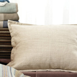 """Pine Cone Hill - PCH Zen Pillow Sham - Luxurious texture and a chic, minimalist style make the Zen pillow sham a modern bedding essential. Create a well-dressed bed with this beautifully designed accent from PCH. Available in standard and euro sizes; 70% cotton/30% linen; 1"""" flange; Button closure; Pillow insert not included; Sold individually; Designed by Pine Cone Hill, an Annie Selke company; Shown with the PCH Zen coverlet, the PCH Treehouse duvet cover, the PCH Treehouse pillow sham and the PCH Classic Hemstitch sheet set in ivory; Machine wash cold, tumble dry low; Do not bleach"""