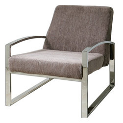 "Carolyn Kinder - Carolyn Kinder Dimas Accent Chair X-24132 - Silvery taupe chenille on a polished chrome arm and leg base. Seat height is 17""."