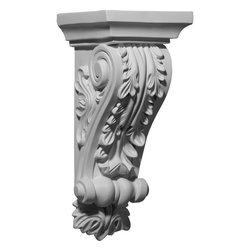 """Ekena Millwork - 5 1/4""""W x 5 3/8""""D x 12 1/4""""H Damon Corbel - 5 1/4""""W x 5 3/8""""D x 12 1/4""""H Damon Corbel. These corbels are truly unique in design and function. Primarily used in decorative applications urethane corbels can make a dramatic difference in kitchens, bathrooms, entryways, fireplace surrounds, and more. This material is also perfect for exterior applications. It will not rot or crack, and is impervious to insect manifestations. It comes to you factory primed and ready for your paint, faux finish, gel stain, marbleizing and more. With these corbels, you are only limited by your imagination."""