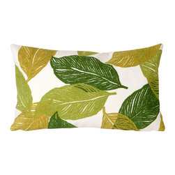 "Trans-Ocean Inc - Mystic Leaf Green 12"" x 20"" Indoor Outdoor Pillow - The highly detailed painterly effect is achieved by Liora Mannes patented Lamontage process which combines hand crafted art with cutting edge technology. These pillows are made with 100% polyester microfiber for an extra soft hand, and a 100% Polyester Insert. Liora Manne's pillows are suitable for Indoors or Outdoors, are antimicrobial, have a removable cover with a zipper closure for easy-care, and are handwashable.; Material: 100% Polyester; Primary Color: Green;  Secondary Colors: mustard, white; Pattern: Mystic Leaf; Dimensions: 20 inches length x 12 inches width; Construction: Hand Made; Care Instructions: Hand wash with mild detergent. Air dry flat. Do not use a hard bristle brush."