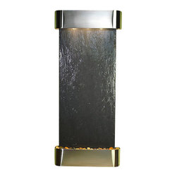 Inspiration Falls Wall Fountain, Stainless Steel, Black Slate, Round Frame - The Inspiration Falls Wall Fountain is a centerpiece of serenity and beauty of nature that is perfect for your home or office. It exudes an experience of being one with nature within your own workplace or living room.
