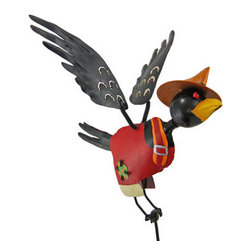Country Farmer Jiggle Wings Crow Garden Stake Bobble - This cool country farmer crow garden stake is a great addition to your yard or garden. The stake is 36 inches tall, and the crow is 7 inches tall, 11 inches long, and has a 12 inch wingspan. The wings are attached with springs, so they will bounce and move with the wind. The crow is hand painted, and makes a great gift for friends and family.