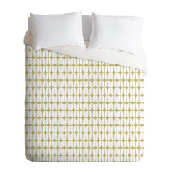 DENY Designs - Caroline Okun Modular Beige Duvet Cover, Twin - Dress your bed in mod style. This fun duvet cover features a modular grid pattern custom-printed in beige and white on soft woven polyester in your choice of sizes. Pop in your favorite duvet, zip the hidden zipper and rest easy.