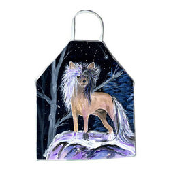 Caroline's Treasures - Starry Night Chinese Crested Apron - Apron, Bib Style, 27 in H x 31 in W; 100 percent  Ultra Spun Poly, White, braided nylon tie straps, sewn cloth neckband. These bib style aprons are not just for cooking - they are also great for cleaning, gardening, art projects, and other activities, too!