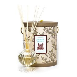 Frontgate - Seda France Japanese Quince Classic Toile Diffuser Set - Includes 8 oz. of alcohol-free oil and natural wooden reeds. Japanese Quince is a piquant fragrance with aspects of rhubarb, passion fruit, and white-fleshed peach over a heart of white jasmine petals. Elegant hand-blown glass container. Packaged in a gorgeous toile patterned box with handle and lid. Lasts up to 4 months. Made from high-quality fragrant oil, the Seda France Diffuser Set disperses a light, fresh scent to any area. A continuous aroma pleasantly contributes to your home's mood and ambiance with no effort required. . . . . . Made in the USA.