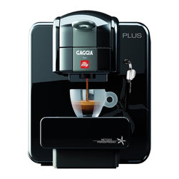 Gaggia - Illy Espresso Machine - Integrated rapid steam wand and hot water dispenser. Wand swivels side to side for easy cup placement. Water pump pressure: 15 bar. Coffee: Illy iPerespresso capsules. Automatic capsule expulsion cleaning. Water filtration system. Stainless steel boiler. Two positioned adjustable cup holder and drip tray. Can be lowered to accommodate tall glasses and raised to fit smaller cups. Programmable coffee quantity. Dedicated controls for on and off, cup volume, and steam controls. Steam function for cappuccino. Programmable cup volume button to adjust the amount of espresso brewed. Mavea water filter. No burn grip for safety. Warranty: One year parts and labor. Made from plastic. No assembly required. Water tank capacity: 1 liter. Container capacity: 12 exhausted capsules. 8.5 in. W x 12.75 in. D x 10 in. H (9 lbs.)Two of the most celebrated Italian espresso brands, Gaggia and Illy, have teamed up to introduce a single-serve machine, that consistently delivers authentic beverages using the famous iperEspresso capsules. Carefully measured and packaged for optimal flavor retention, Illy's iperEspresso capsules can be offered for sale by individual retailers. Instead of having to place an order with the manufacturer, once their capsules have run out, customers can simply visit their retailer of choice for a refill. Convenient for the customer and a source of repeat business for retailers, the Gaggia for Illy Plus and iperEspresso system are truly a win-win for everyone. While many single-serve machines do not have steaming and frothing capabilities, the Gaggia for Illy Plus makes milk-based beverages and teas a breeze to prepare.