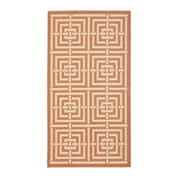 Safavieh - Safavieh Courtyard Rug with Terracotta / Cream X-3-12-7396YC - Safavieh takes classic beauty outside of the home with the launch of their Courtyard Collection. Made in Turkey with enhanced polypropylene for extra durability, these rugs are suitable for anywhere inside or outside of the house. To achieve more intrica