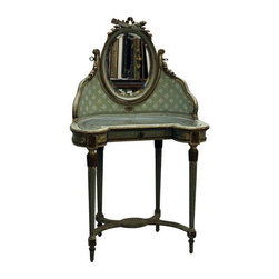 Pre-owned Vintage Victorian Vanity Dressing Table - This petite lady's dressing table is primarily comprised of painted, carved and gilt wood with one central drawer. Hand-painted floral elements occupy the mirror support and carved decorative elements are present throughout the piece. The piece is very shabby chic. The table is structurally sound but does show wear throughout in the form of cracking, paint loss, etc.