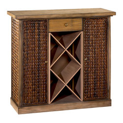 Hammary - Hammary 090-438 Hidden Treasures Bar Storage Cabinet - Classy and functional in design, this bar cabinet adds smart storage and gathering space to your home. Featuring X-style wine bottle storage, a top drawer, and two tall doors hiding shelf storage, this piece adds a space to serve and keep all your drinks in your home.