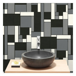 """Graham & Brown - Geo Wallpaper - A retro """"Mondrian"""" style tile effect in bold black and white colors. This textured wallpaper is splash proof making it perfect for kitchens and bathrooms."""