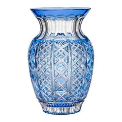 """Waterford Crystal - Waterford Crystal Cased Crystal Molly 12"""" Lt Blue Bouquet Vase 155945 - Waterford Cased Crystal Molly 12"""" Lt Blue Bouquet Vase  -  The Fleurology Collection reinvents the vase category and takes it to a higher form of art with exquisite shapes and complementary cutting patterns that merchandise harmoniously. This 12"""" Light Blue Bouquet Vase is intricately detailed and is a stunning vessel for fresh-cut flowers.  -  Don't Buy From An Unauthorized Dealer  -  Genuine Waterford Crystal  -  Fully Authorized U.S. Waterford Crystal Dealer  -  Brand New In The Original Waterford Crystal Box  -  Each Piece Is Checked 4 Times To Ensure It Arrives In Perfect Condition  -  Stamped With The Waterford Seahorse Symbol Of Excellence  -  Waterford Crystal Cased Collection  -  Waterford Crystal UPC Number: 024258493834"""