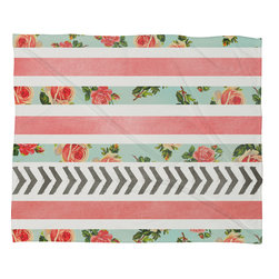 DENY Designs - Allyson Johnson Floral Stripes And Arrows Fleece Throw Blanket - This DENY fleece throw blanket may be the softest blanket ever! And we're not being overly dramatic here. In addition to being incredibly snuggly with it's plush fleece material, it's matching washable with no image fading. Plus, it comes in three different sizes: 80x60 (big enough for two), 60x50 (the fan favorite) and the 40x30. With all of these great features, we've found the perfect fleece blanket and an original gift! Full color front with white back. Custom printed in the USA for every order.