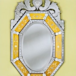 """Venetian Gems - Octagon Venetian Mirror in Gold - Features: -Mirror. -Gold color. -Wall mount. -Newly made venetian mirrors are more readily available, easier on the budget. -Have the original charm and beauty of 16th and 17th century styles. -Uses old techniques copied from Venice, Italy. -The mirror is hand etched, cut, beveled, and polished. -Each hand-cut mirror piece is assembled separately and attached to the wood backing with a tiny screw and rosette cover, making the mirror unique in that each piece can be replaced if necessary. -Comes with a hanger for easy wall hanging. -Overall dimensions: 48"""" H x 29"""" W."""