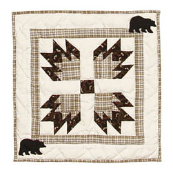 Patch Quilts - Bears Paw Toss Pillow 16 x 16 Inch - Decorative applique Quilted Pillow Bed and Home Ensembles and Bedding items from Patch Magic   - Machine washable  - Line or Flat dry only Patch Quilts - TPBEPW