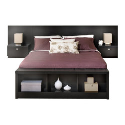 Prepac - Prepac Series 9 Designer Storage Bench in Black - Prepac - Bedroom Benches - BUBD05001 - The multi-purpose Series 9 Designer Bench will add storage and style to any room in your home.  As part of the Series 9 Designer Collection it fits easily at the foot of Prepacs queen & king sized beds. In an entryway its sturdy construction invites you to sit down and take off your shoes. The three large compartments below the bench are a convenient place for shoes blankets throws books and other items. The bench is constructed from durable laminated composite woods. Ships Ready to Assemble includes an instruction booklet for easy assembly and has a 5-year manufacturer's limited parts warranty.