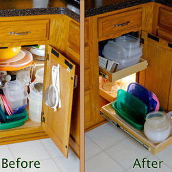 Blind Corner Solution - Before & After - Make better use of your corner cabinets with ShelfGenie of Connecticut's blind corner cabinet solution, a system of pull out shelves that work in conjunction with each other to bring your stored items easily to you.  Extend the front shelf, then slide the corner shelf over to you for access to those items.