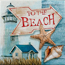 "Tile Art Gallery - To the Beach - Ceramic Accent Tile - This is a beautiful sublimation printed ceramic tile entitled ""To the Beach"" by artist Conrad Knutsen. It features a medley of shells and a lighthouse in the background for a seaside feel."