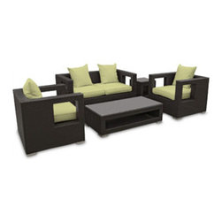 "LexMod - Lunar 5 Piece Outdoor Patio Sofa Set in Espresso Peridot - Lunar 5 Piece Outdoor Patio Sofa Set in Espresso Peridot - Elicit pure perceptions with this brightly illuminated outdoor living set. Inherit abundant light and energy as even the moon's halo shines a radiant glow on fertile peridot all-weather cushions and espresso rattan base. Rejuvenating discussions await along the path of illuminated space and emergent explorations. Set Includes: Four - Lunar Outdoor Wicker Patio Throw Pillows One - Lunar Outdoor Wicker Patio Coffee Table One - Lunar Outdoor Wicker Patio Loveseat One - Lunar Outdoor Wicker Patio Side Table Two - Lunar Outdoor Wicker Patio Armchairs Synthetic Rattan Weave, Powder Coated Aluminum Frame, Water & UV Resistant, Machine Washable Cushion Covers, Easy To Clean Tempered Glass Top, Ships Pre-Assembled Coffee Table Dimensions: 47""L x 24""W x 13""H Side Table Dimensions: 18""L x 18""W x 18""H Loveseat Dimensions: 59""L x 33""W x 28""H Armchair Dimensions: 33""L x 31""W x 28""H Seat Height: 13""HBACKrest Height: 27.5""H Armrest Dimensions: 4""W x 27.5""H Cushion Depth: 4""H Overall Product Dimensions: 121""L x 66""W x 28""H - Mid Century Modern Furniture."