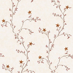 York Wallcoverings - York Wallcoverings Welcome Home Star Berry Vine Wallpaper - RF3525 - Shop for Wallpaper from Hayneedle.com! The York Wallcoverings Welcome Home Star Berry Vine Wallpaper features a unique modern motif of red berries and five-pointed stars blooming against a background of worn and weathered crackling. A wide variety of designer color options allow you to customize the look to your home s interior. Washable strippable and pre-pasted for easy decorating this enchanting wall covering is packaged and sold in a double roll measuring 56 square feet.About York Wallcoverings Known for being America's biggest and oldest wallpaper manufacturer York Wallcoverings has been creating wallpaper that people love since its inception in 1895. Based in York Penn. York Wallcoverings continues to thrive and grow creating beloved brands and innovative appealing designs.Please note: This manufacturer does not ship to Pennsylvania.