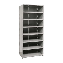 Hallowell - 87 in. High 8-Tier Hi-Tech Medium-Duty Closed Shelving in Gray (36 in. W x 18 in - Depth: 36 in. W x 18 in. D x 87 in. H. Give your basement, workshop or garage a storage makeover quickly and easily with this closed utility shelf, highlighted by eight adjustable shelves in your choice of different sizes. Crafted of cold rolled steel in gray finish, the unit can be paired with an optional adder for addition storage. Includes 2 beaded front posts, 2 angle back posts, 1 back panel, 2 side panels. 8 Adjustable shelves. Fabricated from cold rolled steel. Welds are spaced 3 in. on center to provide maximum strength. Sides are triple flanged to form a channel. All 4 corners are lapped and resistance welded to provide a rigid corner and add extra strength to the shelf. Tubular front edge is designed to protect against impact loads. 36 in. W x 12 in. D x 87 in. H. 36 in. W x 18 in. D x 87 in. H. 36 in. W x 24 in. D x 87 in. H. Assembly required. 1-Year warranty