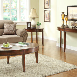 Homelegance - Homelegance Parrish 3 Piece Oval Coffee Table Set in Cherry - Cherry and walnut veneers are merged to create the elegantly distinct inlay pattern of the Parrish Collection. The enlarged convex scallop pattern serves as the focal point for each of the oval shaped tables in this cherry-finished  stylish occasional offering.