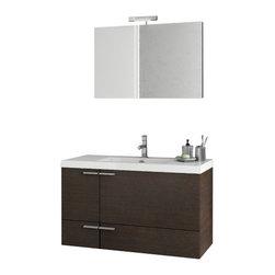 ACF - 39 Inch Wenge Bathroom Vanity Set - Set Includes: Vanity Cabinet (2 Doors,1 Drawer), high-end fitted ceramic sink, wall mounted vanity mirror.