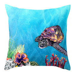 Brazen Design Studio - Decorative Pillow Cover - Sea Turtle - Throw Pillow Cushion, 20x20 - Liven up your space with a fine art pillow cover featuring my original artwork! This listing is for one pillow cover featuring my vibrant watercolor painting, on 100% spun designer polyester poplin fabric, a stylish statement to brighten up any room.