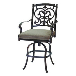 darlee - Darlee Santa Barbara Cast Aluminum Patio Swivel Bar Stool with cushion - Cast aluminum construction is naturally rust resistant