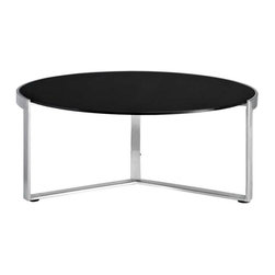 Modway - Disk Side Table in Black - Quite often we observe tables that serve very specific functions. An environment that works for one, many times does not at all work for another. Such is not the case with the Disk modern side table. The piece was designed to elegantly straddle both extremes; from a rustic log cabin in the woods, to the penthouse of a metropolitan skyrise. Topped with a thick tempered glass surface, and fashioned with a polished stainless steel base, spin your way to definitive dcor no matter what the setting.