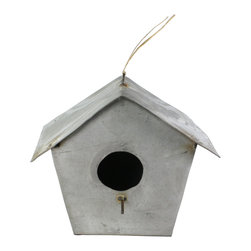 HomArt - Zinc Birdhouse - Bring a touch of industrial charm to your backyard with the Zinc Birdhouse. Its features include a tarnished surface, simple design, round cutout and small perch.