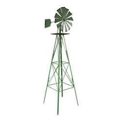 New Buffalo Corp. - Sportsman Series Classic 8 Foot Windmill - Bring back memories of quiet and carefree days with Sportsman Series Classic Windmill. This classic county style windmill stands 8 feet tall, and will always let you know from which way the wind is blowing. The 23 inch fan head rotates and spins facing directly into the wind. This aluminum constructed windmill will stand tall and look great season after season because it is coated with a rust and weather resistant finish. Four anchors attach to the base and sink into the ground to keep the windmill from blowing over. Add a little rural charm to any lawn, garden or backyard.